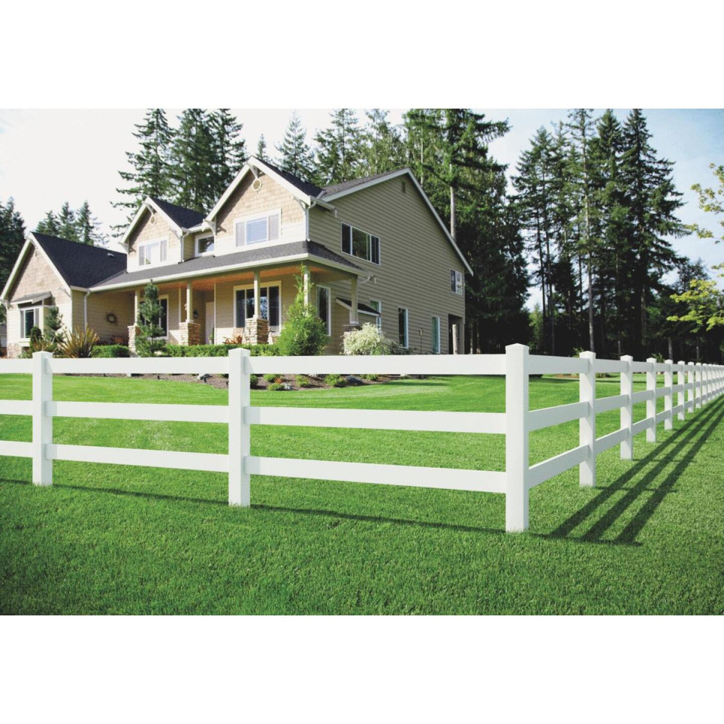 Outdoor Essentials 5 In. x 5 In. x 60 In. White Line 2-Rail Fence Vinyl Post Image 6