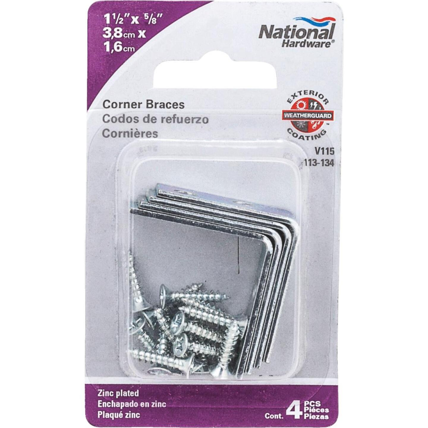 National Catalog V115 1-1/2 In. x 5/8 In. Zinc Steel Corner Brace (4-Count) Image 2